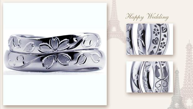 手彫りの桜とイニシャルとネコの結婚指輪 w665