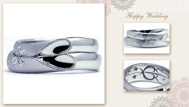桜舞う合わせハートの結婚指輪 w764