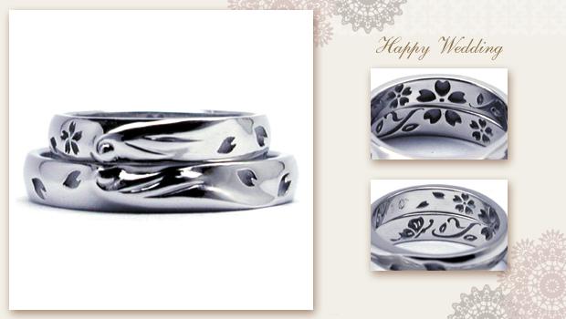 ツバサに想いを込め、桜舞う結婚指輪 w638