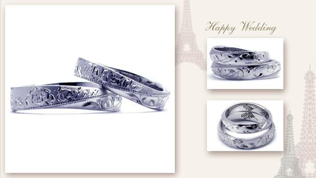 手彫りのバラとイニシャル、蝶の結婚指輪 w646