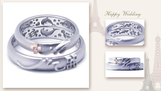 ダイビング風景を刻んだ結婚指輪 w668
