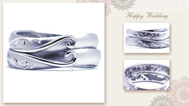 手彫りのイニシャルとハートの結婚指輪 w705