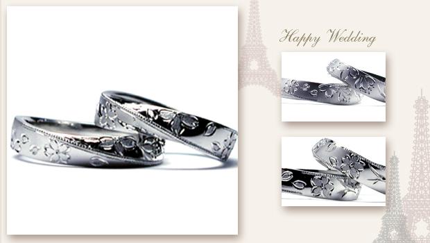 桜を全周に手彫りした結婚指輪 w675