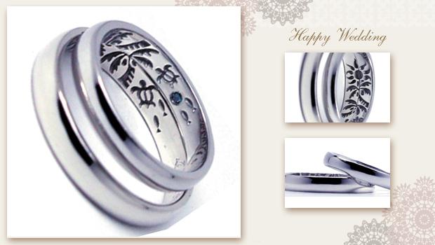 太陽照りつけるビーチとウミガメの結婚指輪 w666