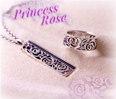 アンティーク風バラの透かし細工「プリンセスローズ」リング・ネックレス