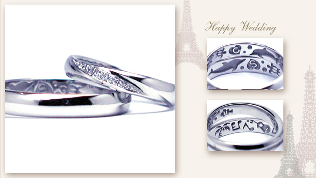 140823w868 Made to order Wedding ring Diamond Dolphin