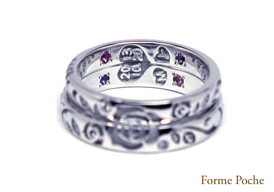 14220w865-ring03 OrderMarriageRing Rose Initial Diamonnd 大阪