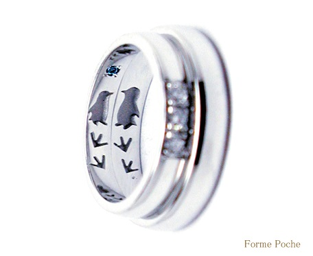 20140701w895-R02 In side Made to Order Wedding ring Penguin Daimond
