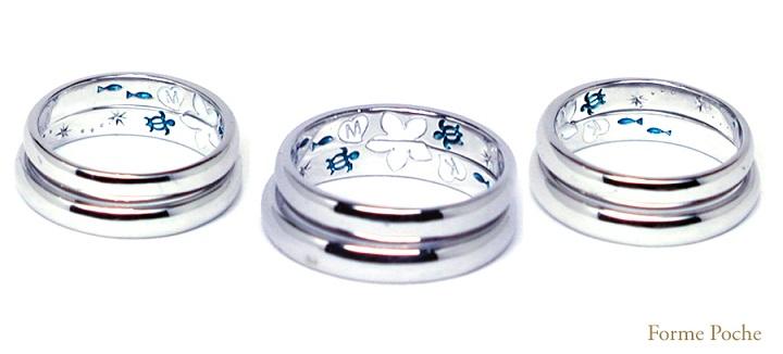 ウミガメとプルメリア 結婚指輪 hi141031-R02