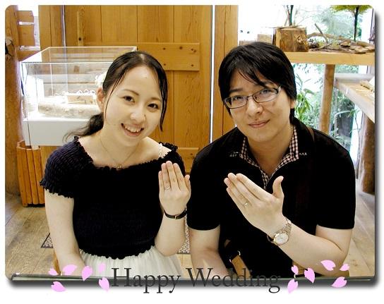 オーダーメイドの結婚指輪&婚約指輪引き取り時 hi141107-02