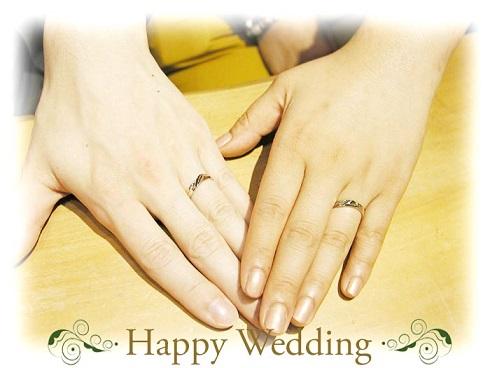 オーダーメイド結婚指輪 装着時 hi141206w923-01