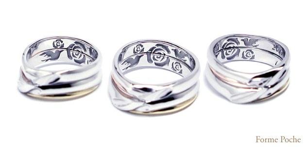 オーダーメイド結婚指輪 バラ 鳥 hi141206w923-R02