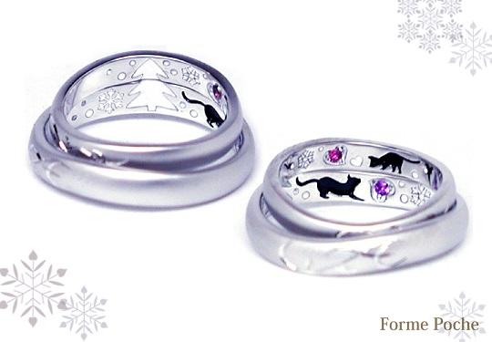 オーダーメイド結婚指輪 ネコ ツリー150125w912-R02