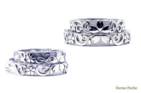 桜 浮き彫り オーダーメイド結婚指輪 150131w917-R1