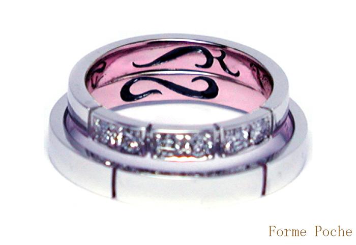 オーダーメイド結婚指輪 ピンク イニシャル 20150328w937-R02