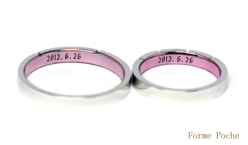 オーダーメイド結婚指輪 ピンク 刻印 20150328w937-R03