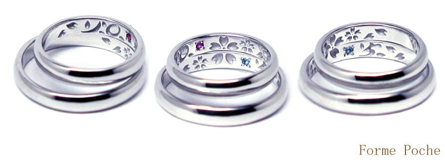オーダーメイド 結婚指輪 桜 20150327w935-R02