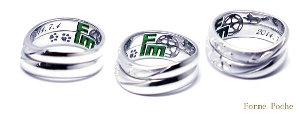 オーダーメイド結婚指輪 サッカーボール ネコ150301w924-R01
