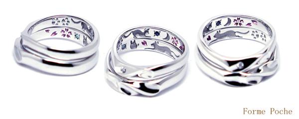 オーダーメイド 結婚指輪 ネコ 桜 誕生石 150403w905-03