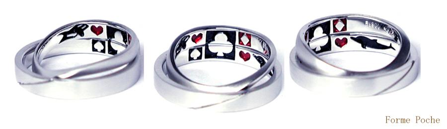 オーダーメイド 結婚指輪 イルカ シャチ 黒 赤 150404w957-R1