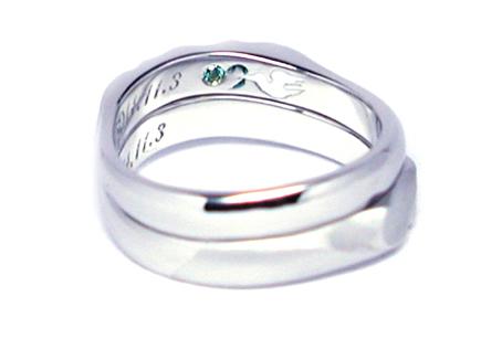 オーダーメイド結婚指輪内側 鳥 刻印hi150501w950-R3