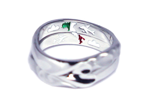 オーダーメイド結婚指輪 イタリア 飛行機 カラーリングhi150501w950-R1