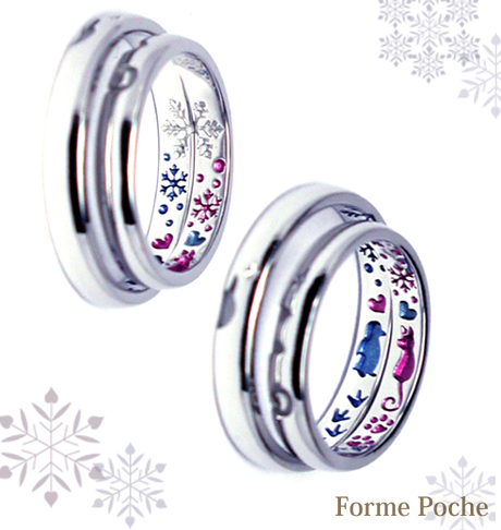 ネコ ペンギン 星 オーダーメイド 結婚指輪 ピンク 青 hi150619w945-R02