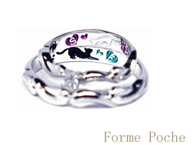 オーダーメイド 結婚指輪 唐草 ダイヤ ミル hi150524w958-R2b