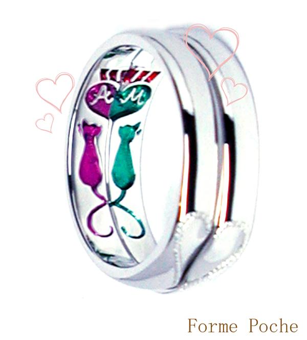 オーダー 結婚指輪 内側彫刻 ネコのカップル hi150610w951R1