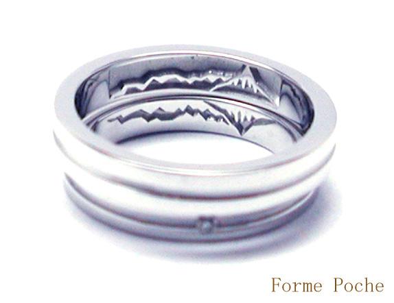 オーダーメイド結婚指輪 内側彫刻 山 hi150611w948R1