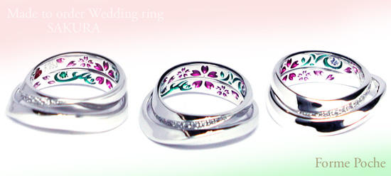 Made to Order Wedding ring 裏側 彫刻 桜 イニシャル カラー 150706w970R1