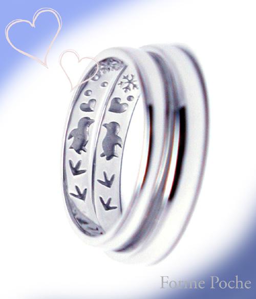 結婚指輪裏彫り ペンギン  hi150705w977-3