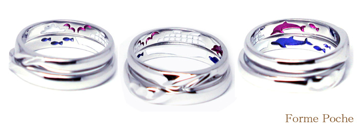hi150725w978 オーダー結婚指輪 船 海 イルカ ピンクブルー リング裏側