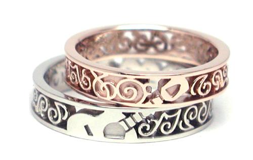 透かし 結婚指輪 オーダーメイド ギター 音符 hi1508010w994-R5