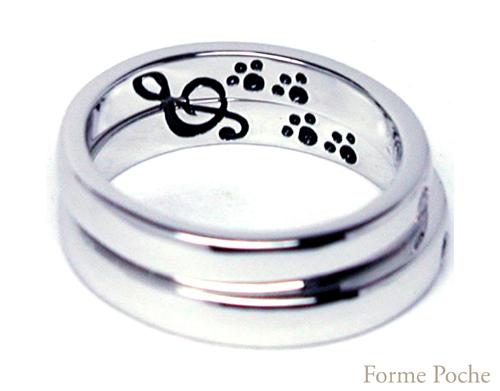 オーダーメイド結婚指輪 内側 音符 ネコのあしあと hi150730w987-R3
