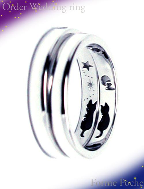 オーダーメイド結婚指輪 内側 ネコ 星 月 雲 hi150730w987-R2