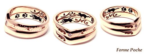hi151018w996r2 結婚指輪ピンクゴールド ネコ イニシャル 小