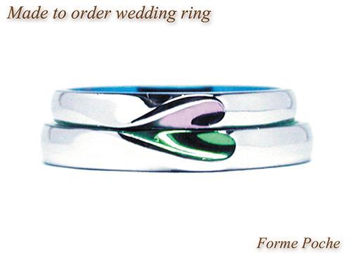 150928w965R1 オーダーメイド結婚指輪 バイカラー ピンク グリーン スカイブルー