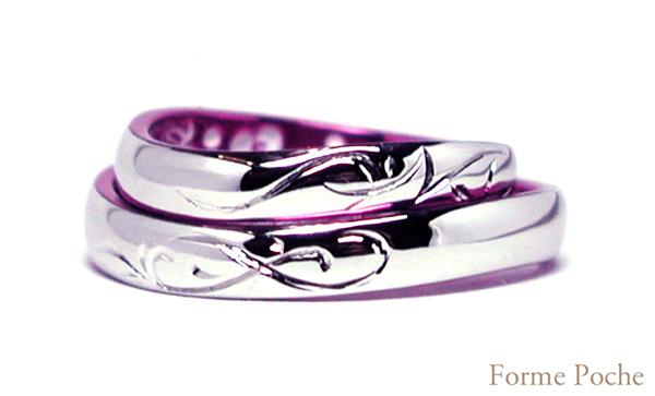 hi151018w991 オーダーメイド 結婚指輪 ピンク色 イニシャル タガネ彫り