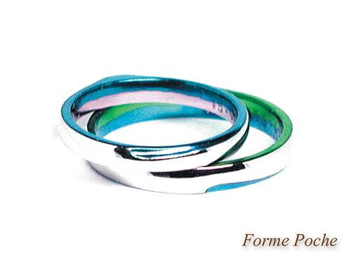 150928w965R1 オーダーメイド結婚指輪 バイカラー ピンク グリーン スカイブルー シンプル 内側