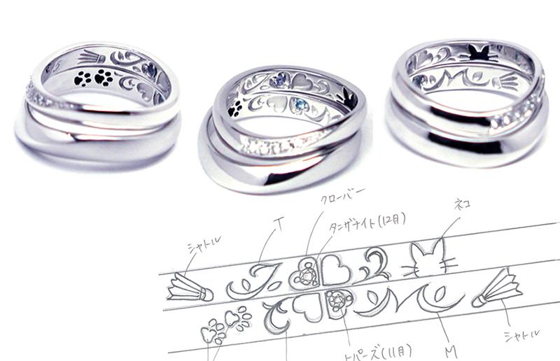 hi151031w999r2b オーダーメイド結婚指輪内彫り クローバー ネコ バトミントン