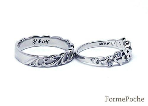 hi151127TW6R1 オーダーメイド結婚指輪 蝶 唐草 透かし 刻印