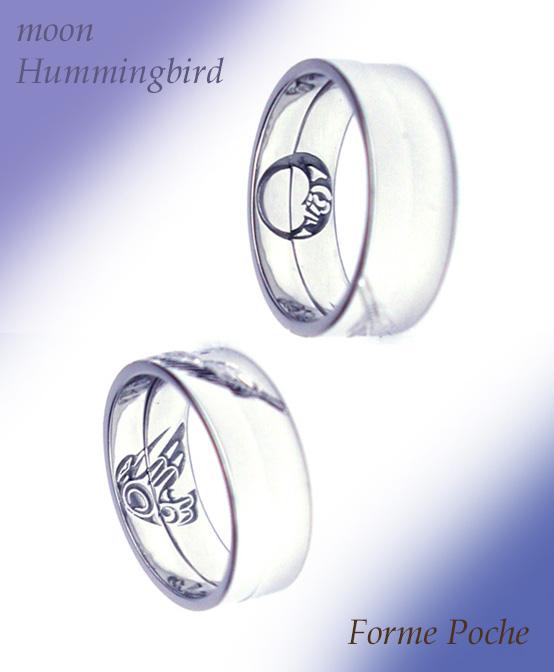 hi151101w1003-02 オーダーメイド結婚指輪内側 月 ハチドリ