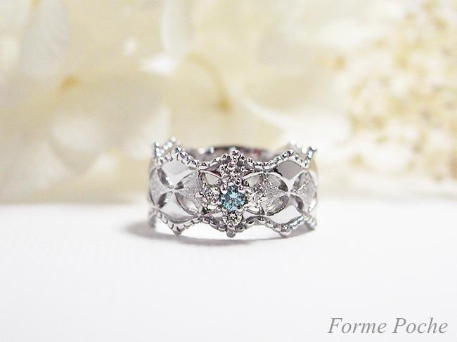 hi151114-6950-1 結婚指輪10周年記念オーダーリング ホワイトゴールド ダイヤモンド ブルーダイヤモンド