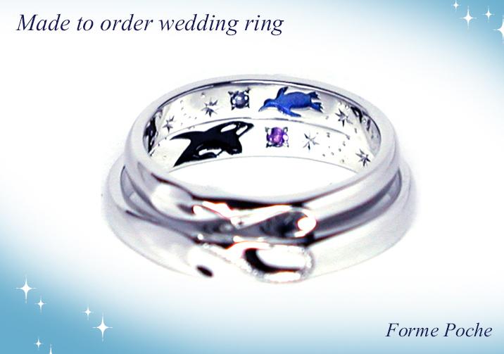 hi151107w1008-R2オーダーメイド結婚指輪内彫り イルカシャチ星誕生石