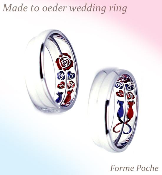 hi151127w984 オーダーメイド結婚指輪内側彫刻 ネコ 薔薇 青 赤