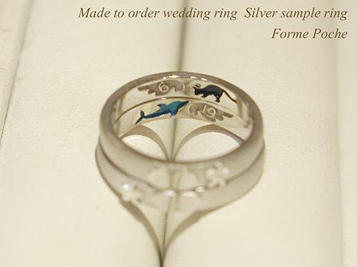 hi151207s1013R1 オーダーメイド結婚指輪 サンプル 羽 クローバー イルカ ネコ 勿忘草