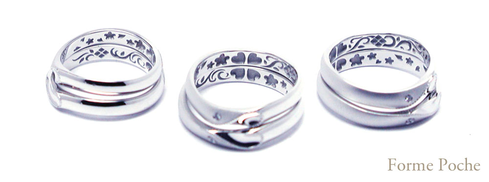 hi151212w1005R1オーダーメイドの結婚指輪内側彫刻 花 クローバー イニシャル