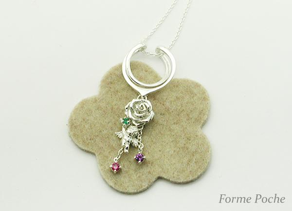 hi151203-6923-2 オーダーベビーリング シルバー 天使 薔薇 誕生石
