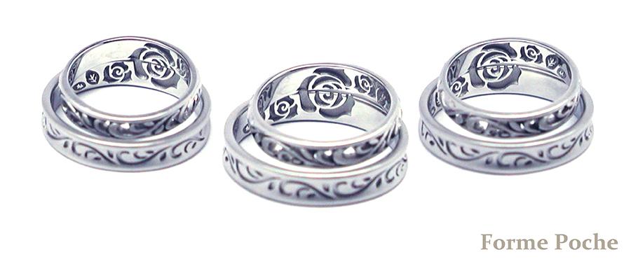 160124w10002‐R3 オーダーメイド結婚指輪内側彫刻 薔薇b
